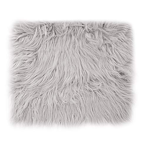 Colour Carpet - Monique Newborn Baby Soft Faux Fur Blanket Solid Color Photography Carpet Photo Props Rug Background Light Gray