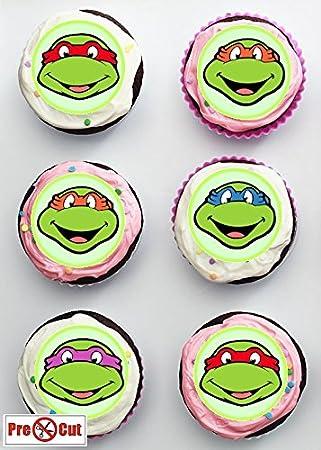 70 x Pre corte las tortugas ninja para tartas, elementos decorativos para magdalenas/decoración comestible papel de oble