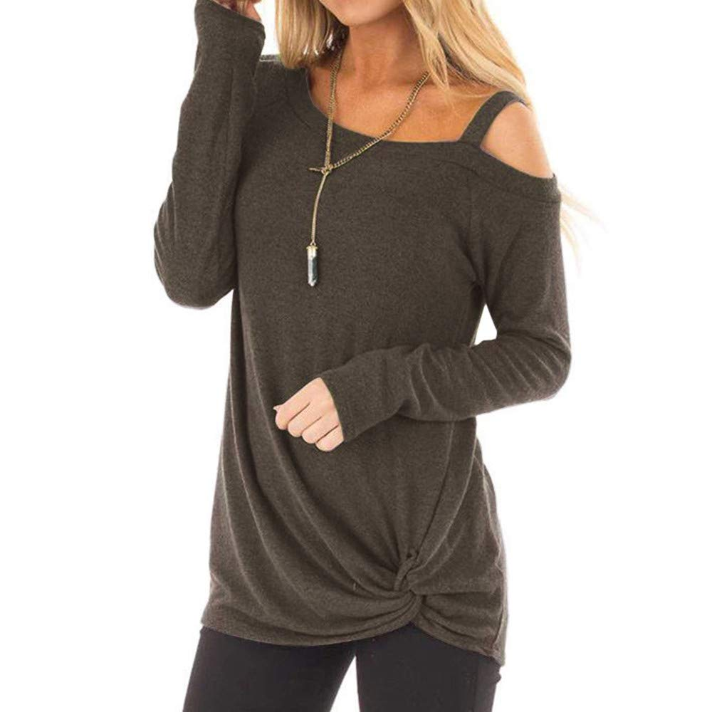 Lmx+3f Womens Casual Long Sleeves O Neck Top Knot Side Twist Blouse T-Shirt Loose Soft Comfy Top/More Color Choose Coffee