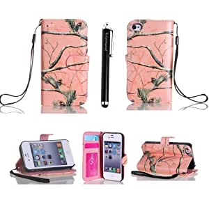 Ezydigital Premium Multi-Function Painting Series iPhone 4 4S Wallet Leather Case Cover & Credit Card Holder and Phone Stand and Lanyard for iPhone 4 4S