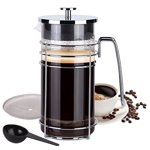 AMOVEE French Press Coffee Maker Tea Maker with 304 Stainless Steel and Heat Resistant Borosilicate Glass, Bonus Stainless Steel Steel Included, 1 Liter 34 oz (8 Cup) by AmoVee