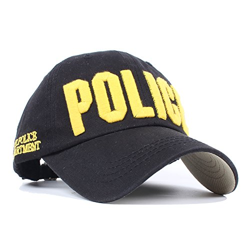 Vankerful Department Hat Police Embroidered Hats Adjustable Kids Baseball Caps Black Yellow For Boys Children For 3-6 Years Old -