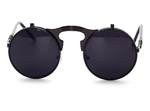 WODISON Lunettes de soleil style Steampunk Flip up Lentille ronde pour hommes Femmes avec pochette (Cadre noir Black Lens) wENRoOT