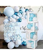 Verjaardagsfeestdecoratie doos met 52 letters, baby shower decoratie dozen voor meisjes jongens, 4 stuks transparante ballondozen inclusief letter A-Z voor verjaardagsfeestje, babyshower