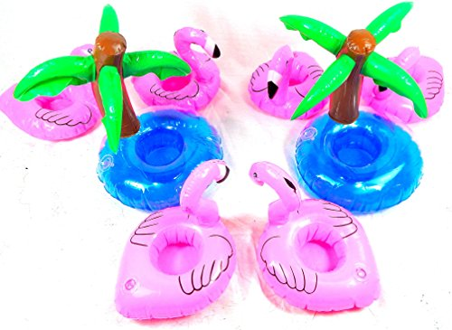 XXL Getränkehalter Set 8tlg. bestehend aus 2 aufblasbaren Palmen und 6 Dosenhalter Flamingo