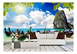 wall26 - Long Tail Boat on Tropical Beach with Limestone Rock, Krabi, Thailand - Removable Wall Mural | Self-Adhesive Large Wallpaper - 100x144 inches