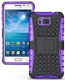 Heartly Flip Kick Stand Spider Hard Dual Rugged Armor Hybrid Bumper Back Case Cover For Samsung Galaxy Alpha 4G SM-G850FQ - Frame Purple