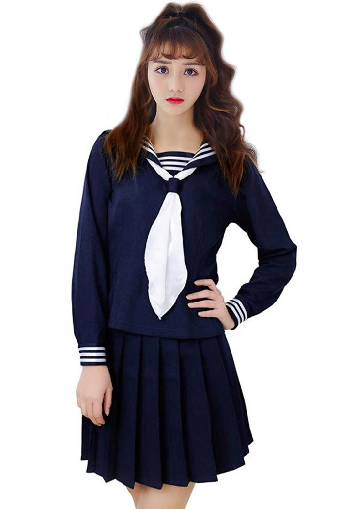 FORLADY Womens Sailor Student School Uniform Dress Suit Japanese Anime Cosplay Costumes Navy Blue Suit and White Tie