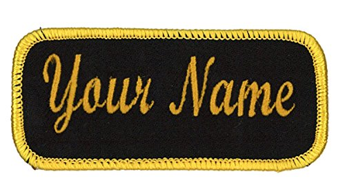 Name patch Uniform or work shirt personalized Identification tape Embroidered Iron On or Hook Fastener, Black/Military Gold Script, Iron -