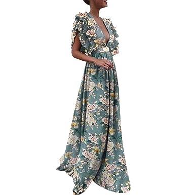 27412a2fa5e Gyouanime Womens Plus Size Dress Long Maxi Deep V Neck Print Sleeveless  Backless Graduation Dress Beige