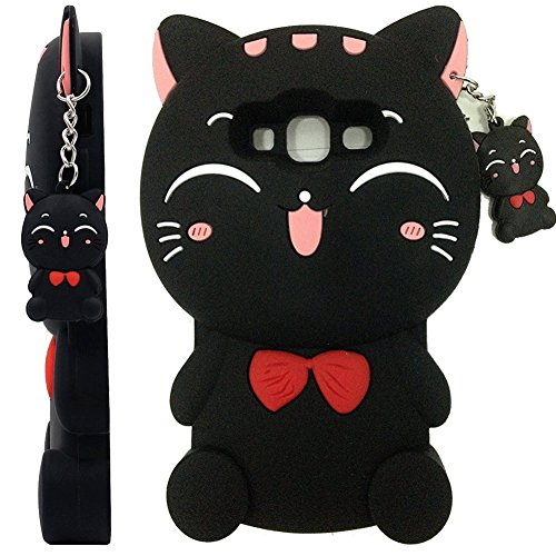 Galaxy J3 Case, Galaxy J3V Case, Skmy 3D Lucky Fortune Cat Kitty with Cute Bow Tie Silicone Rubber Phone Case Cover for Samsung Galaxy J3/J3V, Galaxy Sky/Sol, Galaxy Amp Prime (Bow Tie Cat-Black)