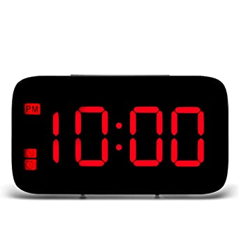 Reloj despertador LED Reloj digital Lectura fácil Pantalla LED Noche Luz de fondo Reloj de mesa