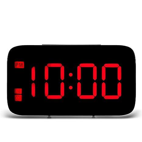 OurLeeme Gran Pantalla LED Reloj Despertador Digital con repetición, Control de Voz Mesita de Noche Reloj con Pilas Carga por USB (Rojo): Amazon.es: Hogar