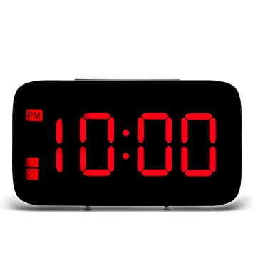 TiooDre Reloj Despertador, LED Reloj Despertador Pantalla LED Digital Control de Voz Eléctrico Posponer Noche Iluminación de Fondo Relojes de Mesa USB ...