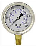 "LIQUID FILLED PRESSURE GAUGE, 2.5"" DIAL DISPLAY, STAINLESS STEEL CASE, BRASS INTERNALS, 1/4"" MALE NPT LOWER MOUNT CONNECTION, DUAL SCALE PSI & BAR (0-500 PSI)"