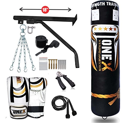 Heavy Filled 11 Pieces 5ft Boxing Punch Bag Set Gloves Bracket (Hold up to 70kg) Chain MMA Pad