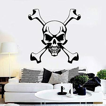 yiyitop Skull and Bones Tatuajes de Pared Símbolo Pirata Etiqueta ...