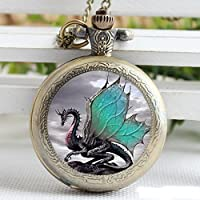 Vintage Green Dragon Glass Pocket Watch-Bronze Plated Pendant Necklace-Wearable Art Pocket Watch-Handmade Necklace Jewelry For Women Men Kids Gifts