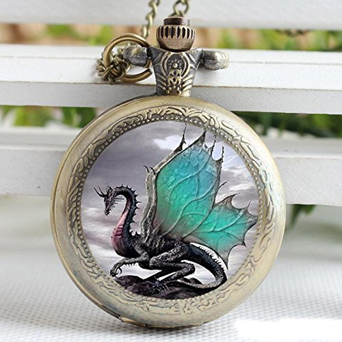 - Vintage Green Dragon Glass Pocket Watch-Bronze Plated Pendant Necklace-Wearable Art Pocket Watch-Handmade Necklace Jewelry For Women Men Kids Gifts