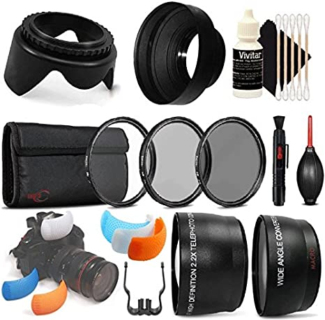 Lens Pen 3pc Cleaning Kit Telephoto and Wide Angle Lens Tulip Lens Hood Dust Blower Flash Soft-Light Cover 58mm UV CPL ND