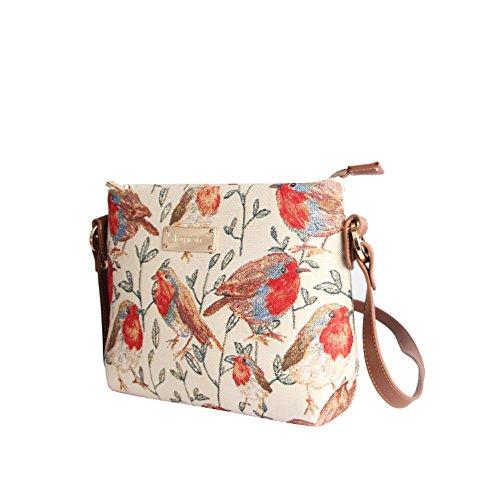 Modische Tapisserie Damen Schultertasche, Bodybag oder Messengertasche in Signare Stil Rotkehlchen