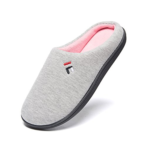 Slippers FOOTTECH Memory Grey Women's Non Clog Two Skid Indoor Insole Tone Foam Light Outdoor House Sole rqgXw1qF