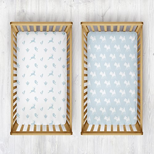 Rabitat 100% Organic Cotton Fitted Cradle Sheet Set of 2. Fitted Sheet for Cribs, Cots, Baby Shower Gift (Pack of 2, Birds/Deer)