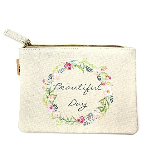 Me Plus Eco Zipper Pouch Stylish Printed, Traveler Organizer, Cosmetic Small Makeup , Students BTS Organization Bag (Beautiful Day) ()