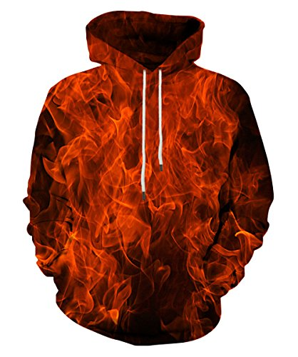Neemanndy Unisex Fire Graphic Sweatshirts Hoodies with Long Sleeve Pocket Hooded for Men Women, - Embroidered Hoodie Graphic