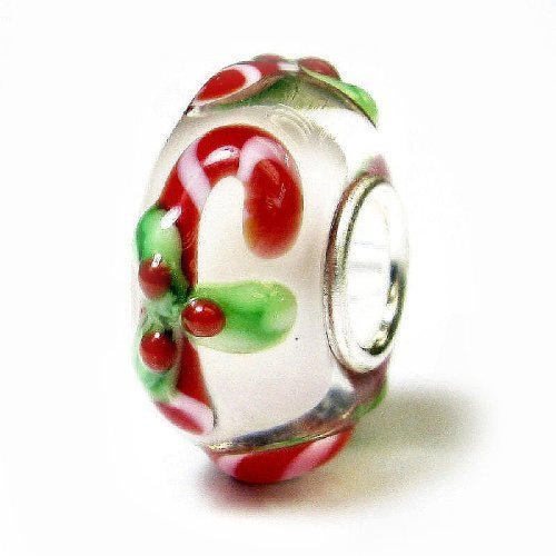 08fa9cf9c Sterling Silver Candy Cane Stick Christmas Red Green Gift Glass Holiday Bead  For European Chamilia Biagi