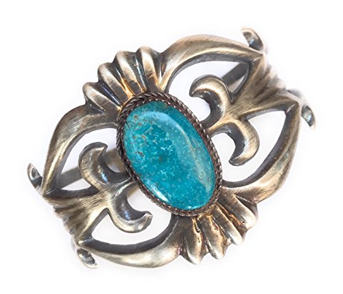 - Nizhoni Traders LLC Native Sandcast Sterling and Turquoise Cuff Bracelet, Signed