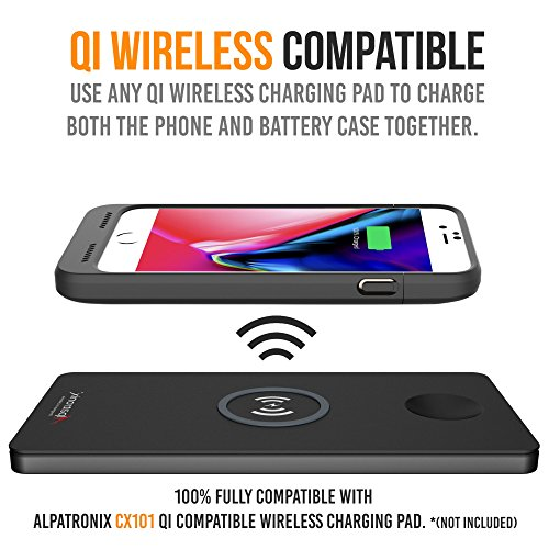 iPhone 8/7 Battery Case Qi Wireless Charging Compatible, Alpatronix BX190 4.7-inch 3200mAh Slim Rechargeable Extended Protective Portable Charger for iPhone 8 & iPhone 7 [Apple Certified Chip] - Black by Alpatronix (Image #6)