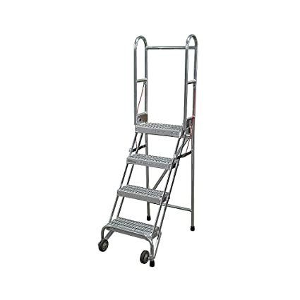 Stupendous Cotterman Sasa4A3E10C50P6 4 Step Folding Rolling Ladder Spiritservingveterans Wood Chair Design Ideas Spiritservingveteransorg