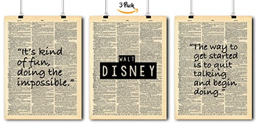 Famous Quotes Art - Walt Disney- 3 Print Set - Vintage Dictionary Print 8x10 Home Vintage Art Prints Wall Art for Home Decor Wall Decorations For Living Room Bedroom Office Walt Disney
