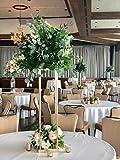 Everbon Pack of 10 Wedding Flower Vase Metal Flower Stand Gold Flower Column Elegant Wedding Table Centerpiece Wedding Flower Decoration Vase (23.6'' Tall)