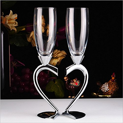 2-Piece Wedding Champagne Glass Set Flute Glasses Wine Glass for Wedding Wedding Gift Glasses - Personalized Silver Plated Wine