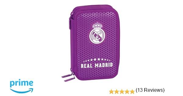Real Madrid FC- Plumero Triple con 41 Piezas, Color Morado (SAFTA 411677057)