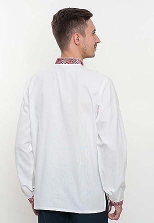 c3025acf5fc47 Vyshyvanka Modern Men Ukrainian Ethnic Cotton Shirt Real Embroidery. at Amazon  Men s Clothing store