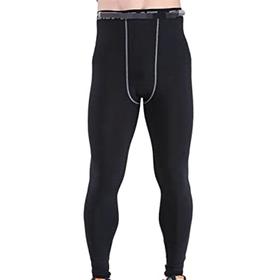 Wofupowga Mens Moisture Wicking Training Lightweight Quick Dry Compression Pants