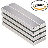 Eilin Neodymium Bar Magnet, DIY, Construction, Science, Craft and Office Strong Rare Earth Metal Neodymium Magnets - 60 x 10 x 5 mm (12 Pack)
