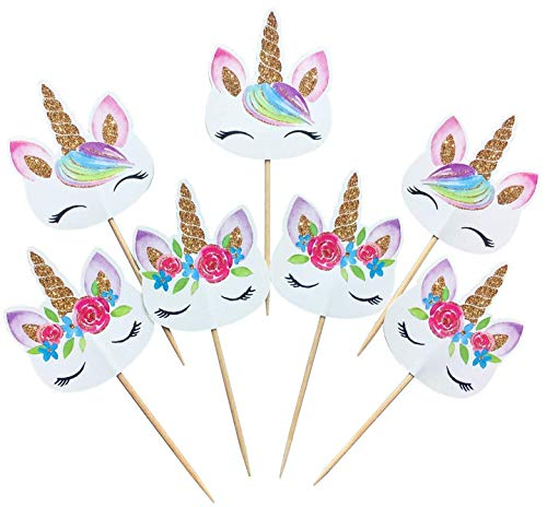 (PrincessCupcake 24-pack Rainbow Unicorn Cupcake Toppers Picks, Double Sided Unicorn Cake Toppers Limited Time Reduced Price, Birthday Baby Shower Party Decorations)