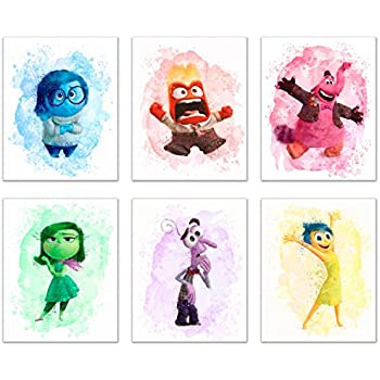 Summit Designs Inside Out Movie Wall Decor Art Prints Set Of 6 8x10 Poster P Os Bing Bong Disgust Joy Happiness