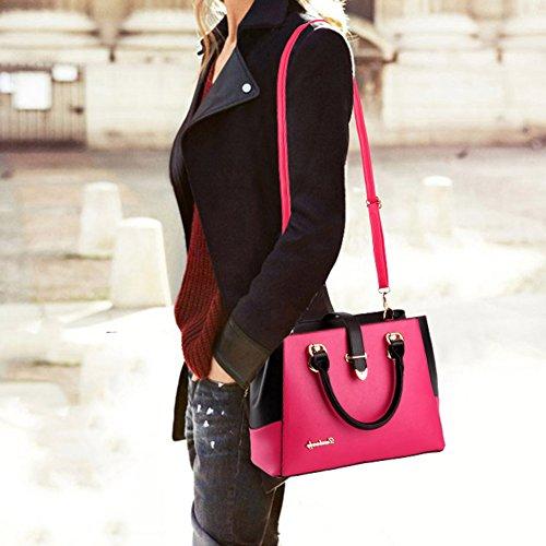 Rose Bandoulière Sac de capacité Femme Bureau 13 Grande Taille à Sacs 33 Shopping Fourre Cuir Rouge tout Messager Main 23 cm Boucles Mode Mauea Elégant 8gFPwqT