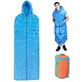 Wnnideo Adult Sleeping Bag Adjustable Mummy Outdoor Quilt 4 Season Ultralight Warm Compression Bag with Hoodie for Camping Hiking Traveling(Blue) Review