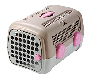 United Pets A.U.T.O Pet Carrier, Tan/Gray & Pink, 14.5 Inches by 20 Inches by 13 Inches