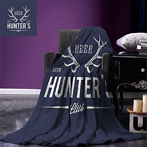 smallbeefly Hunting Decor Digital Printing Blanket Deer Hunters Club Logo Design with Antlers Retro Typography Shabby Icon Summer Quilt Comforter Navy Blue White