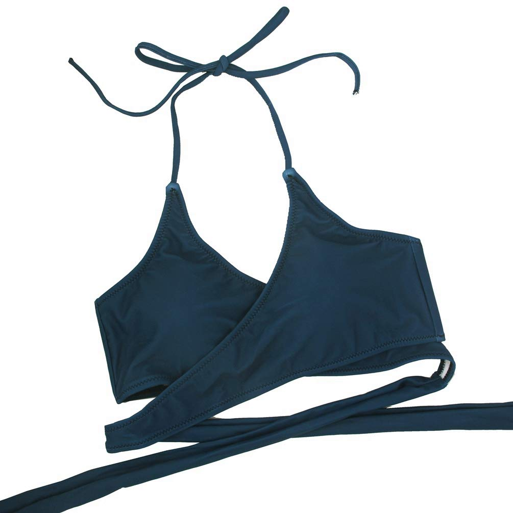 Marosoniy Womens Teen Floral Printing Cross Wrap Bandage Bikini Set Bathing Suits Two Pieces Swimsuit Beachwear