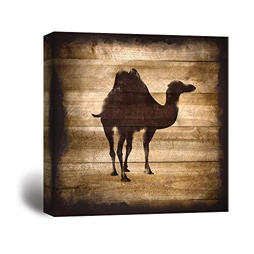 Square Camel Silhouette on Rustic Wood Board Texture Background