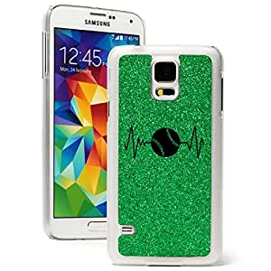 Samsung Galaxy S5 Glitter Bling Hard Case Cover Heart Beats Softball Baseball (Green)