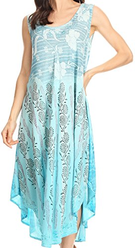 Alicia Dress (Sakkas 86458 - Alicia Ombre Vine Print Batik Dress / Cover Up with Sequins and Embroidery - Turquoise - OS)